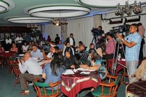 Periodistas de los medios de comunicación presentes en el anuncio de l programa de la FILRD2014.