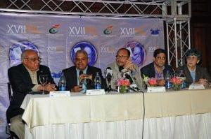 El ministro de Cultura y los responsables de la organización de la Feria del Libro en rueda de prensa este martes.