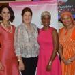 Nicole Jimenez, diseñadora desfile dela Fundación Pañoleta en Dominicana Moda 2015. Rossy Liriano, Presidenta Fundación Pañoleta. Mirka Morales, Presidenta de Dominicana Moda. Alaine Mateo, Secretaria de Fundación Pañoleta