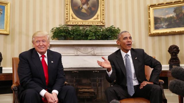 Trump y Obama en su primera reunión.