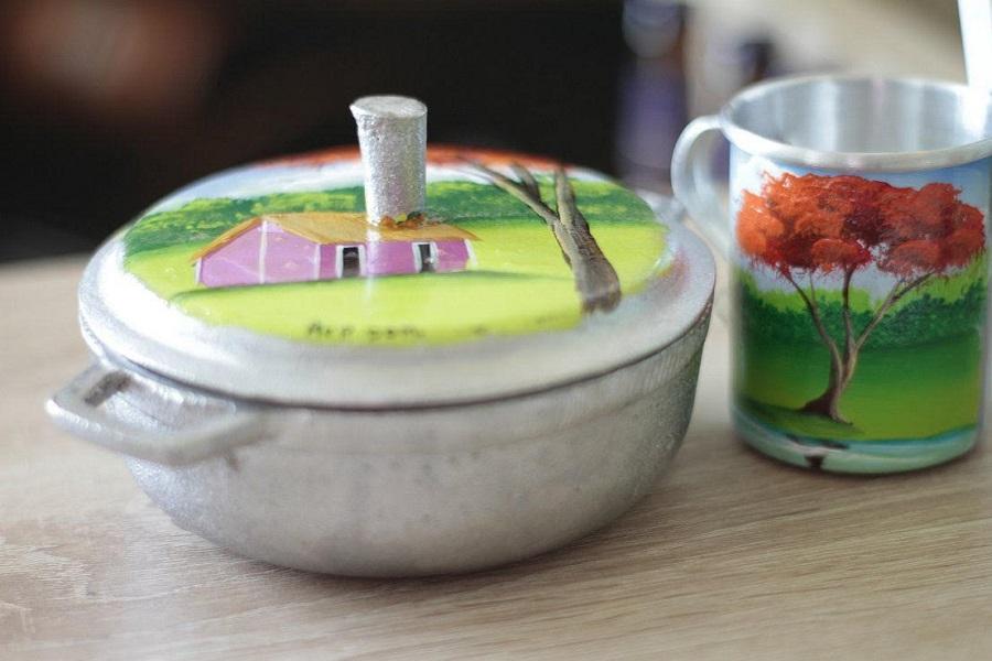 Envases realizados por artesanos dominicanos donde Chef Tita sirvió las degustaciones.